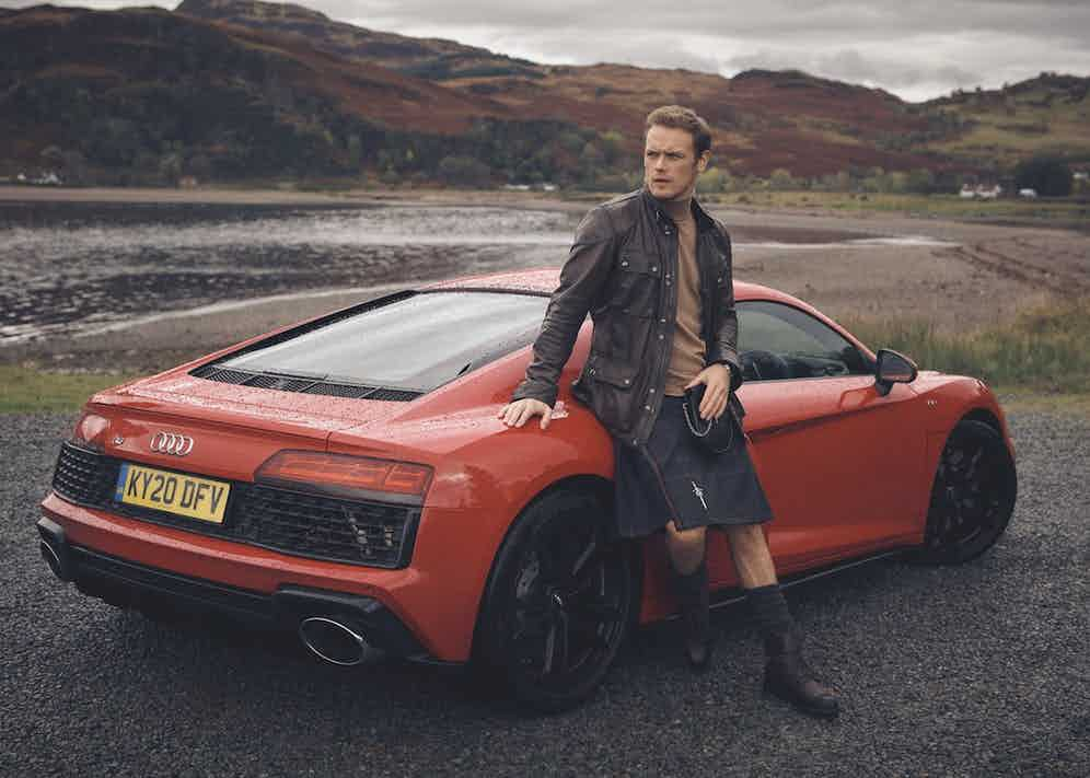 Lambskin 'Fieldbrook' jacket, Belstaff; cashmere roll-neck, New & Lingwood; kilt, Sassenach Tartan; sporran, Emma Berry; socks and kilt pin, Sam's own; black Utah 'Kentmere' boots, Edward Green at The Rake; Code 11.59 by Audemars Piguet Selfwinding Chronograph, 18-carat white-gold case, lacquered black dial and counters. Black alligator strap with white-gold buckle. Car: Audi R8 Coupé V10 RWD S tronic (540 PS)