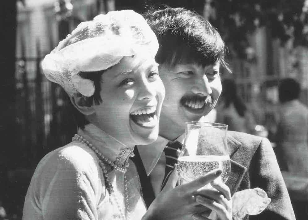 Michael and Tina Chow on their wedding day, London, 1973 (Photo by Evening Standard/Getty Images)