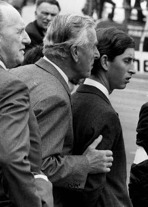 Mountbatten watching the R.A.C. Grand Prix at Brands Hatch with Prince Charles in 1968 (Photo by Wesley/Keystone/Getty Images)