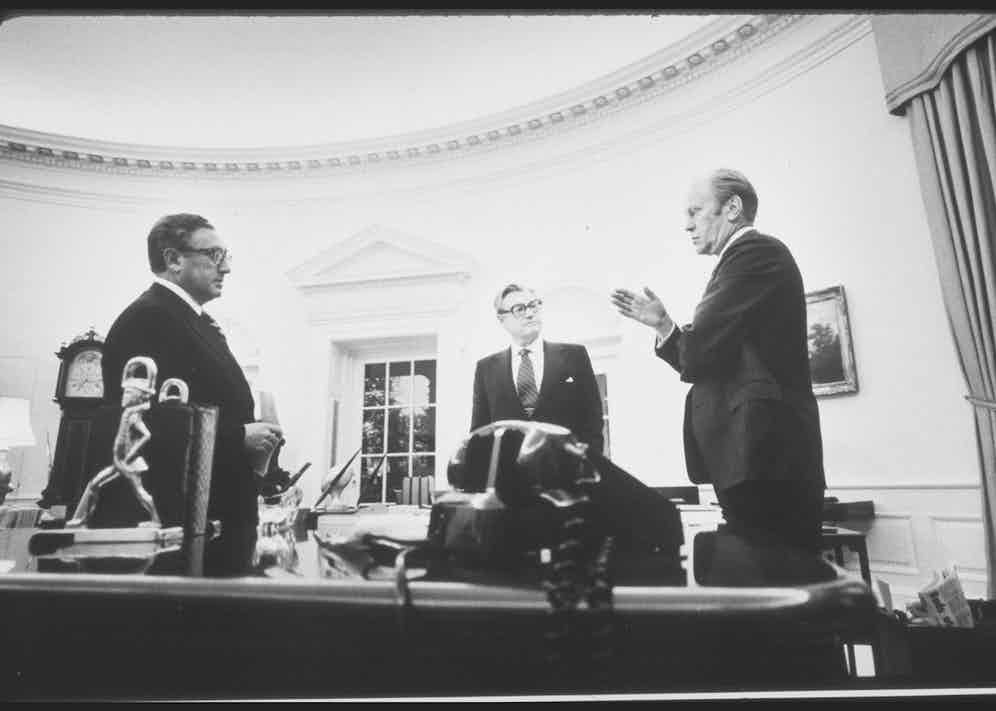 Henry Kissinger with Nelson Rockefeller and President Gerald Ford in the White House, 1975 Photo by David Hume Kennerly/White House/The LIFE Picture Collection/Getty Images)