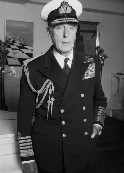 Sporting the uniform of the First Sea Lord (Photo by Allan Warren)