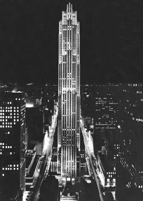 Night-time view of the RCA Building at the Rockefeller Centre, Manhattan, 1938 Photo by Underwood Archives/UIG/REX/Shutterstock (3838293a)