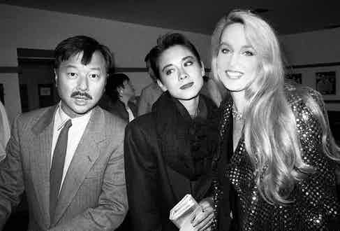 Michael and Tina Chow attending a book launch with Jerry Hall, 1985 (Photo by Alan Davidson/Silverhub/REX/Shutterstock (7529110ai)