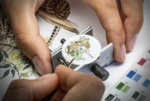 Miniature enamel painting on a porcelain dial