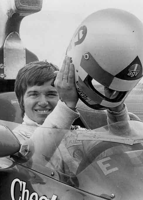 Miss Lella Lombardi, Italian female racing car driver trying out the size of Kevin Bartlett's Lola F5000 at Oran Park, 1974 (Photo by Wayne Russell Black/Fairfax Media via Getty Images)