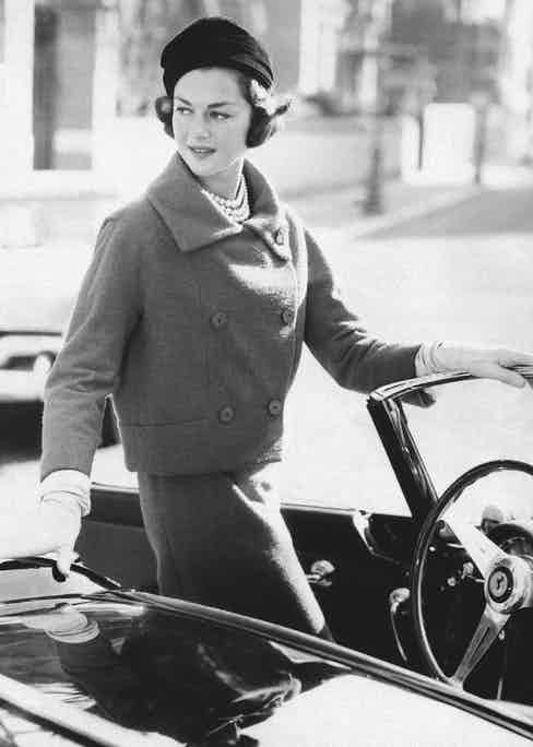 Consuelo in her Capucci suit as seen in the International Best-Dressed List, 1958 (Photo by Mondadori via Getty Images)