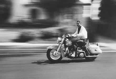 Riding a motorcycle (Photo by Ralph Crane//Time Life Pictures/Getty Images)