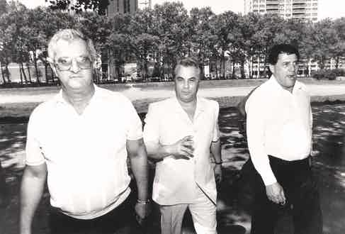Gotti with Bobby Borriello, on his left, and Peter Gotti, on his right, circa 1987 Photo by Michael Schwartz/New York Post Archives / (c) NYP Holdings, Inc. via Getty Images)