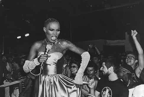 Grace Jones performing at Studio 54 circa 1980 in New York City. (Photo by Sonia Moskowitz/IMAGES/Getty Images)