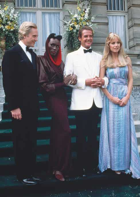 Christopher Walken, Grace Jones, Roger Moore and Tanya Roberts promote A View to a Kill (Photo by Nancy Moran/Sygma via Getty Images)