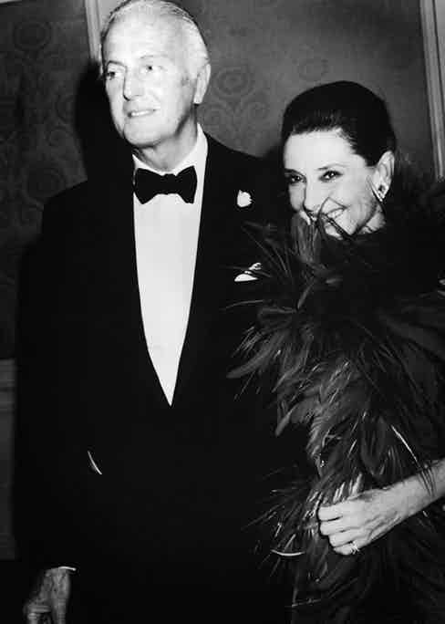 French fashion designer Hubert De Givenchy and Belgian-born actress Audrey Hepburn (1929 - 1993) arrive at an event held in Givenchy's honor where he was awarded the state of California's first Lifetime Achievement Award for the Arts, Beverly Hills, California, October 28, 1988. (Photo by Darlene Hammond/Hulton Archive/Getty Images)