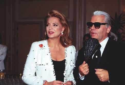 Princess Ira von Fuerstenberg with fashion designer Karl Lagerfeld, Germany 1995.
