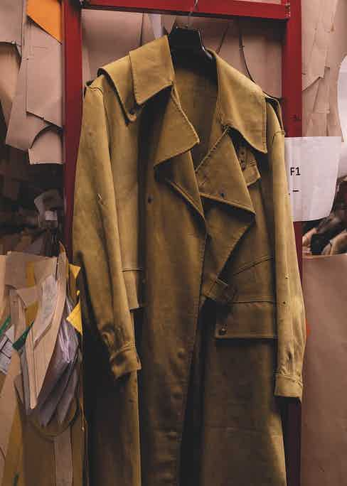 Vintage coat dating to 1943 in the firm's archive room.