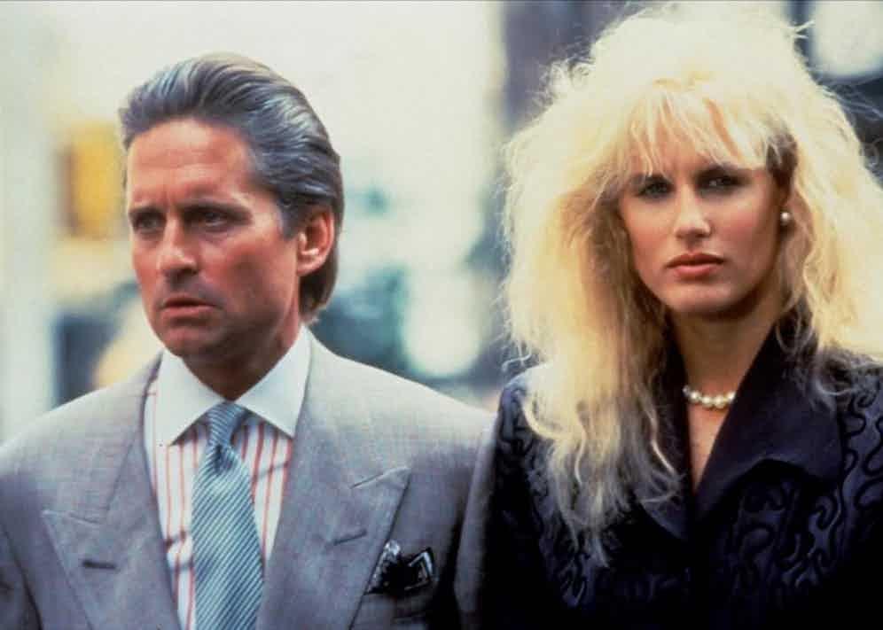 Michael Douglas and Daryl Hannah in Wall Street, 1987