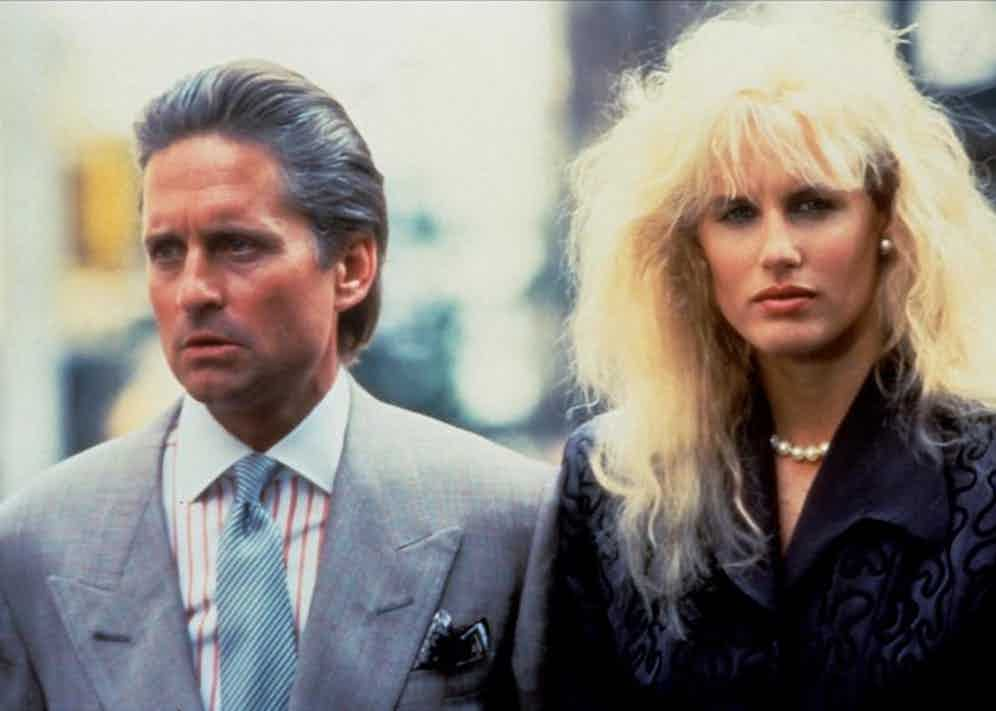 Michael Douglas and Daryl Hannah in Wall Street, 1987