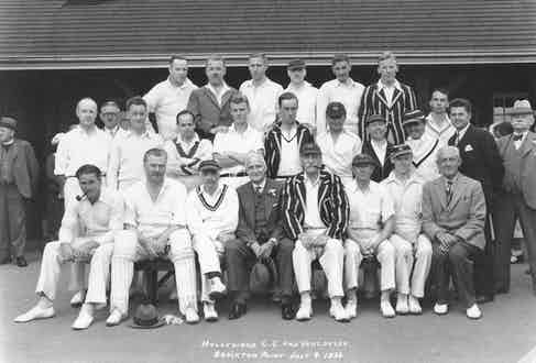A group shot of Hollywood C.C. members including Errol Flynn, Nigel Bruce, C. Aubrey Smith, Alan Roughton, Harry B. Warner and others