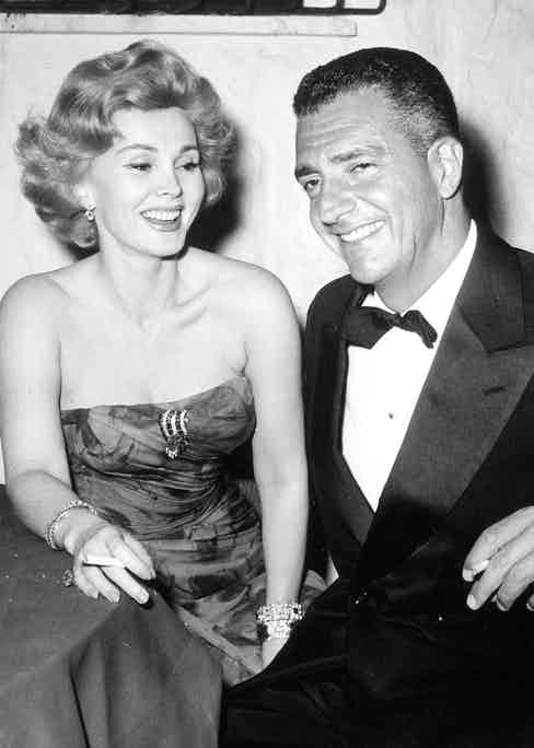 with Zsa Zsa Gabor in 1960 (Photo by GLOBE PHOTOS/REX Shutterstock (83180al)