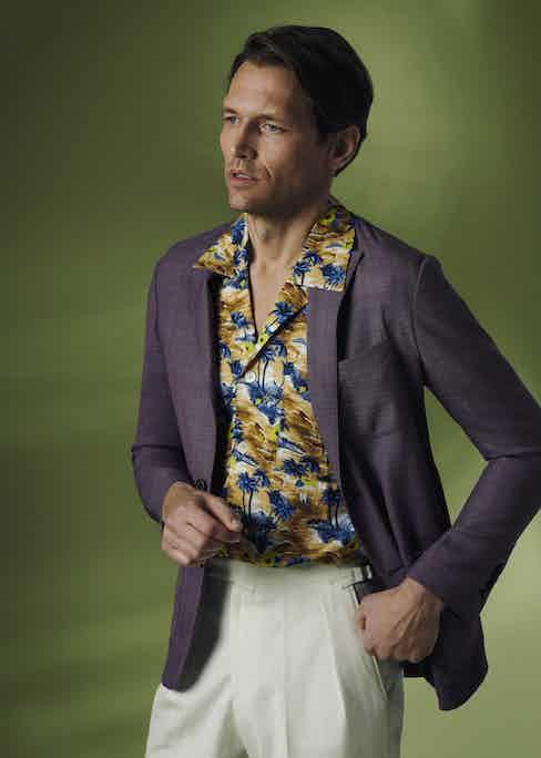 Purple wool unlined single-breasted patch pocket jacket, Sacco; yellow and brown viscose Hilo Hawaiian shirt, Cordone 1956; off-white cotton slim Aleks trouser, Kit Blake.
