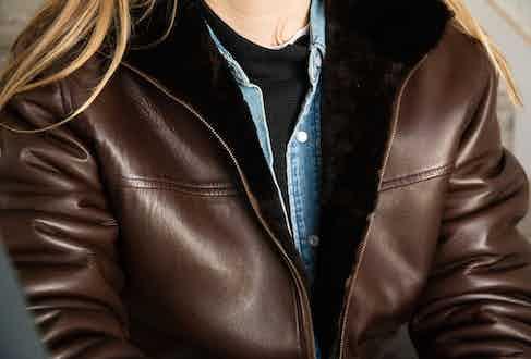 Chocolate brown Sharif bomber jacket