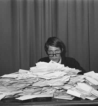 With a pile of fan letters from his female followers, 1966 (Photo by Jean-Claude Deutsch/Paris Match via Getty Images)