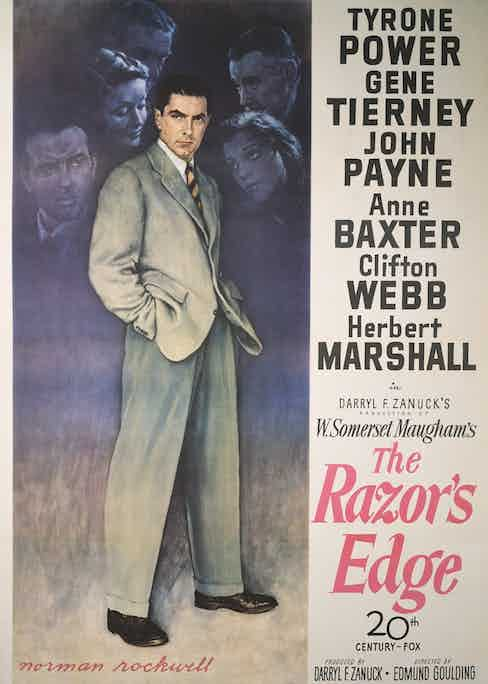 A Norman Rockwell designed poster for Edmund Goulding's 1946 drama 'The Razor's Edge' starring Tyrone Power. (Photo by Movie Poster Image Art/Getty Images)