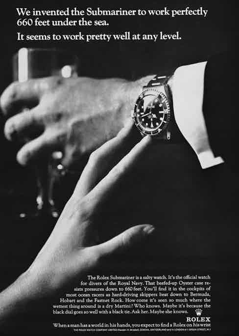 An old advertisement for the Submariner