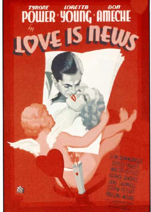 Film poster Love is News, 1937 (Photo by Everett/REX/Shutterstock (2994970a)