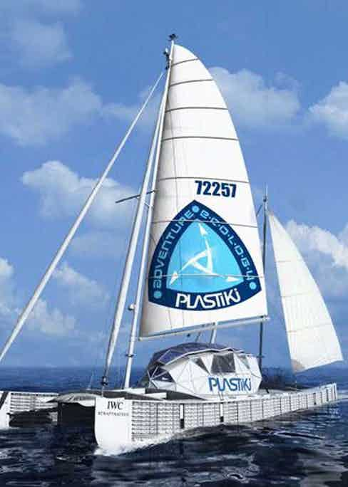 Rothschild's 60 foot catamaran made entirely of plastic bottles and recycled waste products
