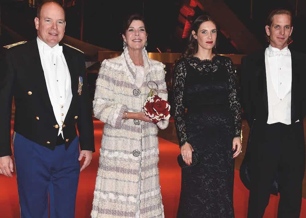 Julio Mario Santo Domingo Jr.'s daughter, Tatiana, with her husband, Andrea Casiraghi (right), alongside Prince Albert II of Monaco and Caroline, Princess of Hanover in Monaco in 2014 (Photo by Monaco Princely Pool/Getty/WireImage)