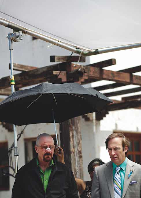 Waiting to begin filming with Bryan Cranston in Breaking Bad.