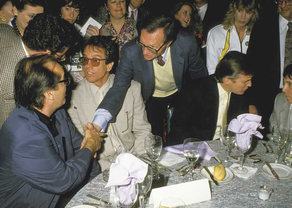 Saying hello to Jack Nicholson at the Tyson vs Spinks fight in 1988 (Photo by Ron Galella/Ron Galella Collection via Getty Images)
