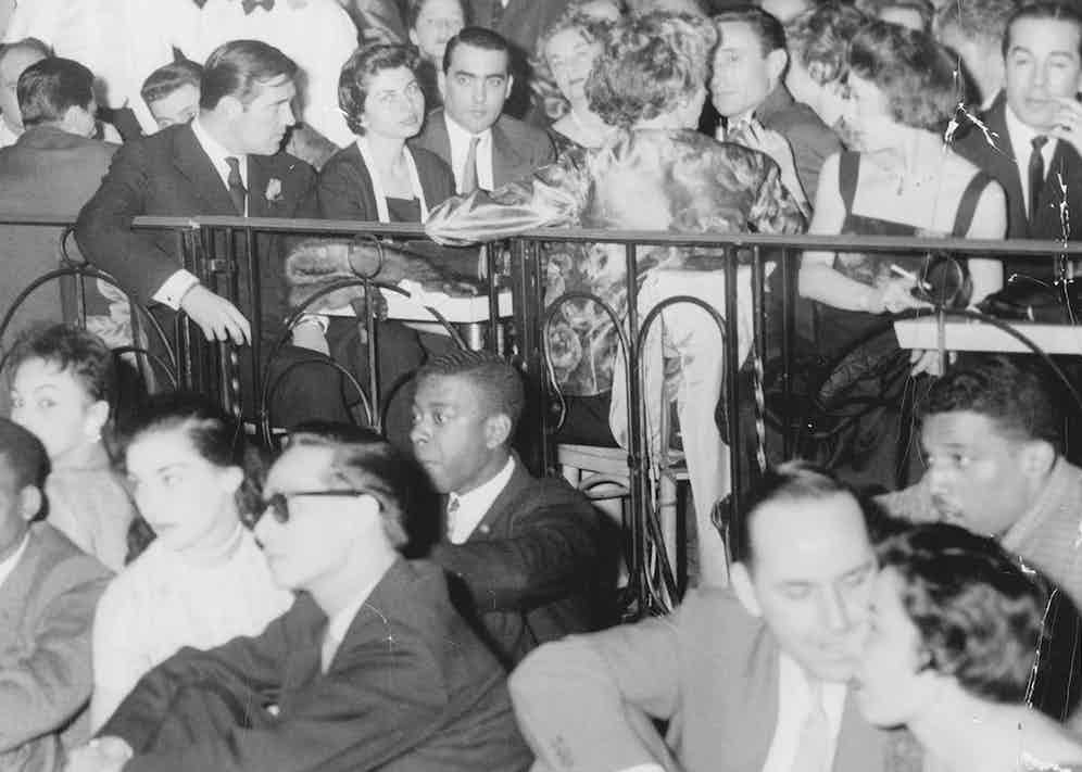 Princess Soraya of Iran watches dancing from the centre table at New York's Palladium Ballroom. Julio Mario Santo Domingo is at her right-hand side (Photo by Arty Pomerantz/New York Post Archives /(c) NYP Holdings, Inc. via Getty Images)