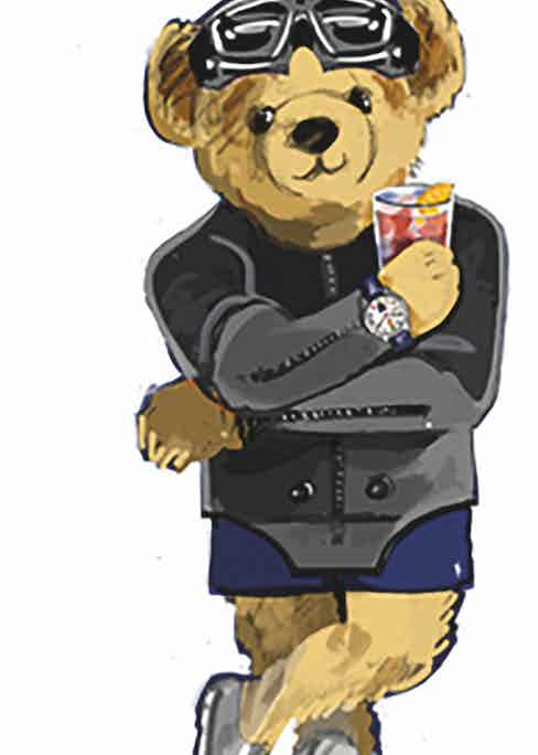 A sketch of the Bearfoot Negroni Bear 'day' that will be available on a limited edition set of swimwear and polos.