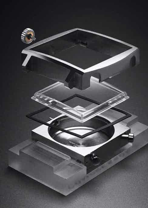 An exploded view of the Monaco's square case