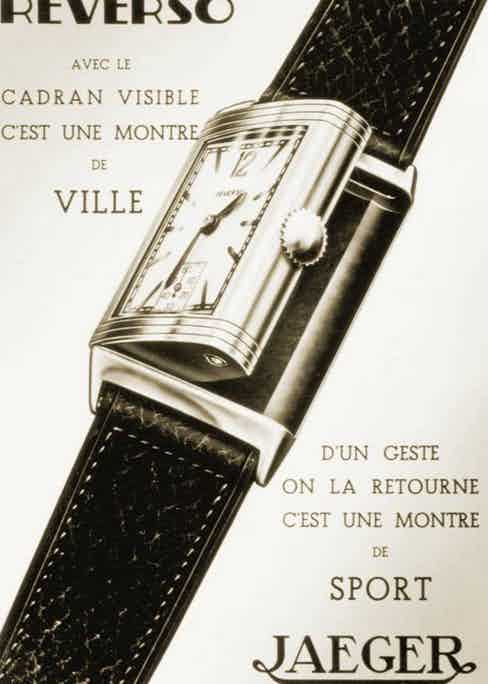 Old advertisement for the Reverso and its swiveling case