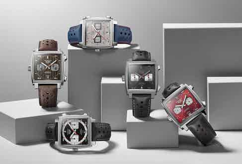 The complete TAG Heuer Monaco limited edition series created for the watch's 50th anniversary in 2019