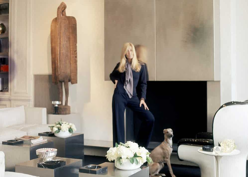 Catroux in her Paris apartment with her Whippet, circa 1970.