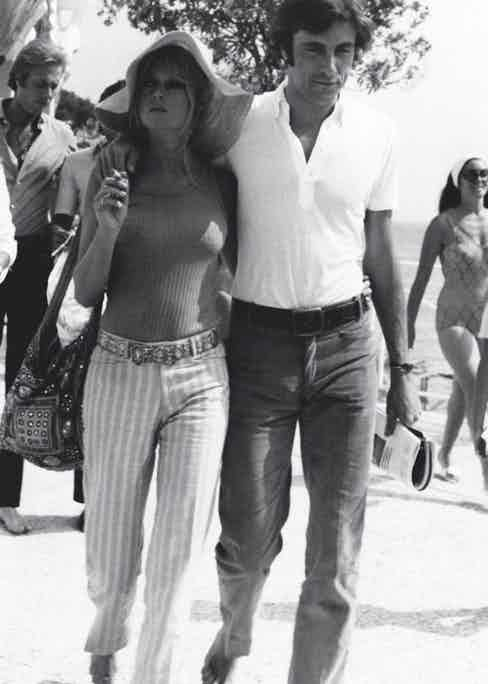 Brigitte Bardot walking with the Italian actor and playboy Gigi Rizzi in Saint-Tropez, 1968 (Photo by Mondadori Portfolio via Getty Images)
