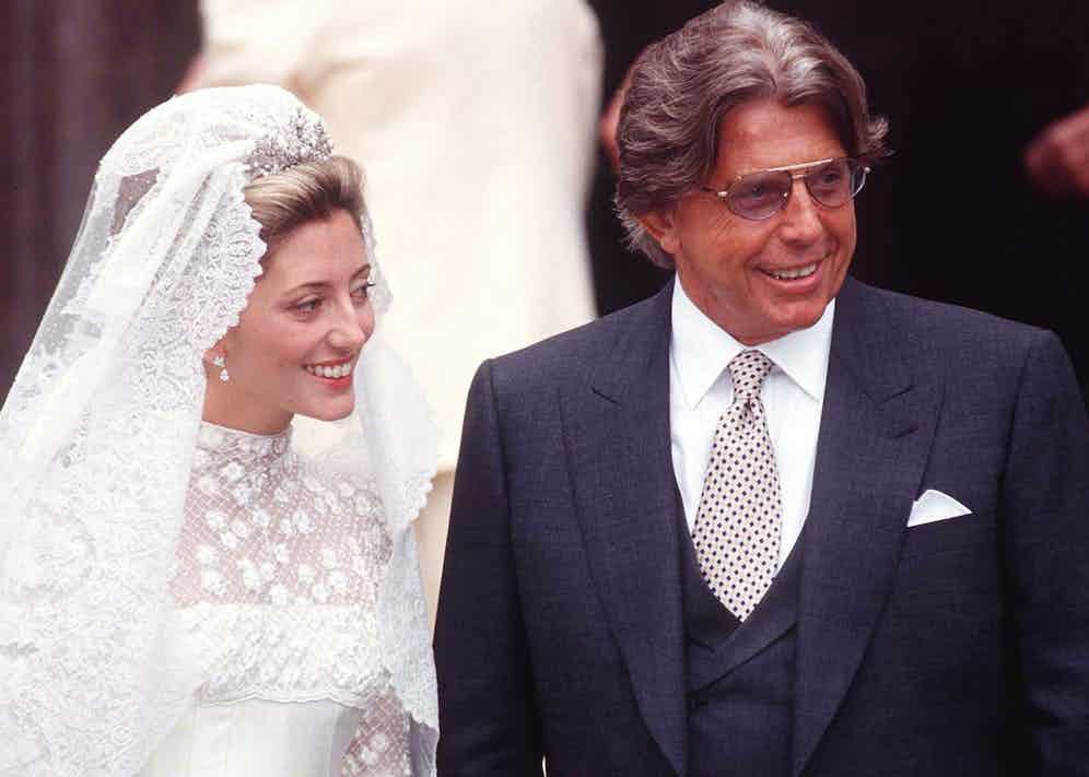 Marie Chantal Miller and her father Robert Miller at her wedding to crown prince Pavlos of Greece at St Sophia's Greek Cathedral In London. (Photo by Tim Graham/Getty Images)