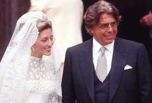 Marie Chantal with Robert on her wedding day at St Sophia's Greek Cathedral in London, 1995 (Photo by Tim Graham/Getty Images)