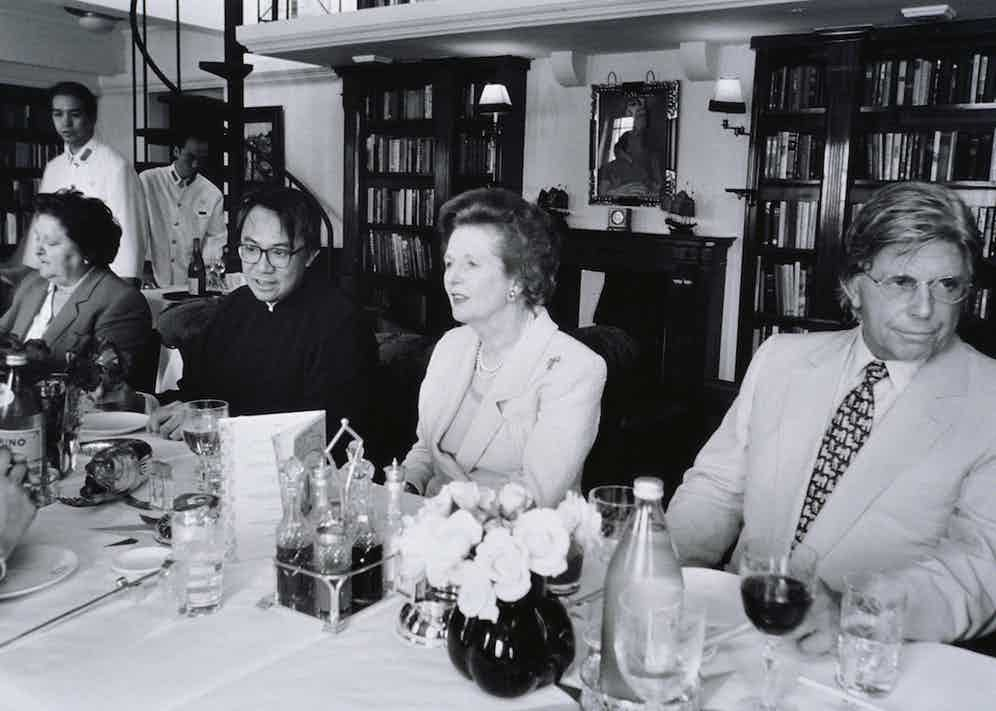 Miller dining with Margaret Thatcher and restauranteur David Tang in Hong Kong, circa 1980s (Photo by © Viviane Moos/CORBIS/Corbis via Getty Images)