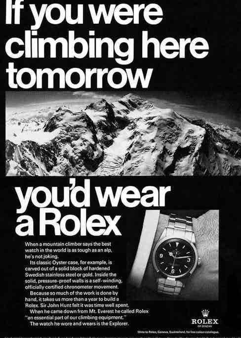 Old advertisements for the Rolex Explorer