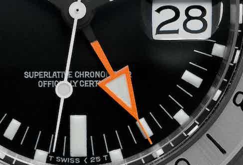 Big orange arrowhead 24-hour hand of the ref. 1655 Rolex Explorer II