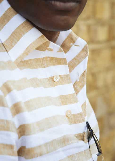 Shaun Gordon wears G. Inglese's striped linen polo for The Rake.