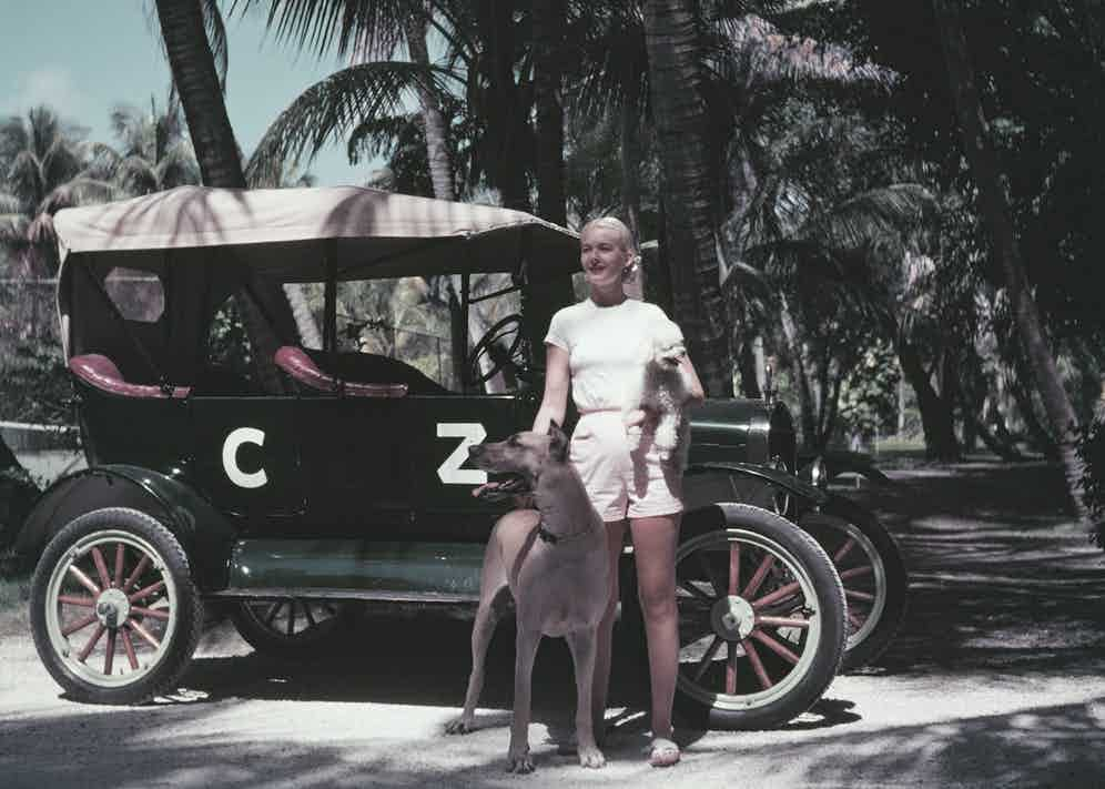 C.Z. Guest with her personalised Ford Model T tourer in Palm Beach, Florida, circa 1955 (Photo by Slim Aarons/Hulton Archive/Getty Images)