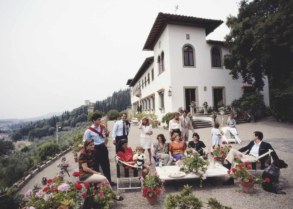 The Ferragamo family at their residence in Tuscany, 1991 (Photo by Slim Aarons/Getty Images)