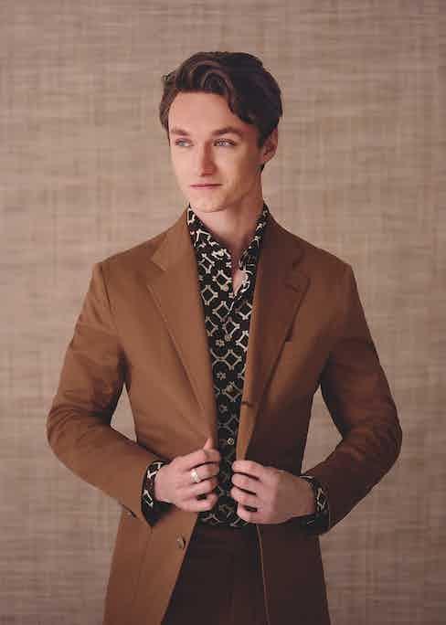 Tobacco cotton single-breasted Posillipo suit, De Petrillo at The Rake; brown and tobacco silk printed shirt, Tintoria Mattei