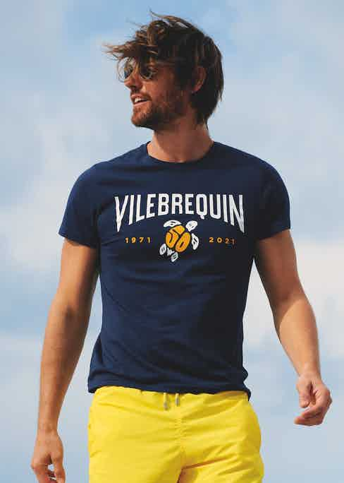 Vilebrequin 50th anniversary cotton T-shirt and yellow Moorea swimming shorts