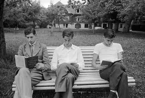Edward George, Duke of Kent (left) revises from a book on English Social History for his end of term exams at Le Rosey boys' school in Geneva. Original Publication: Picture Post - 6609 - The Last Days At School With The Duke Of Kent -  pub. 1953  (Photo by Kurt Hutton/Picture Post/Getty Images)