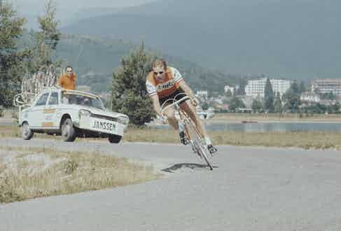 Dutch racing cyclist Jan Janssen pictured in action during competition for the Bic cycling team during an individual time trial stage of the 1970 Tour de France at Divonne-les-Bains in France on 7th July 1970. (Photo by Rolls Press/Popperfoto via Getty Images/Getty Images)